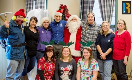 BMAH team members with Santa at Open House, December 7, 2013
