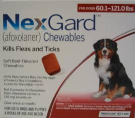 NexGard chewable for Dogs 60.1 to 121 lbs