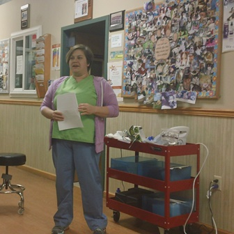 Dr. Kim Somjen, DVM, addresses visitors at Belle Mead Animal Hospital Open House October 22, 2014