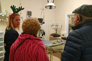 Lauren giving tour of Belle Mead Animal Hospitaal