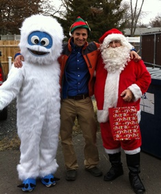 Dr. Joe Martins, DVM, Belle Mead Animal Hospital with Bumble and Santa