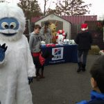Abominable Snowman at Belle Mead Animal Hospital Reindeer Holiday Event